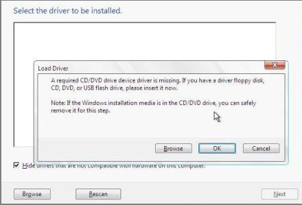 required CD/DVD device driver is missing Windows 7 USB install error