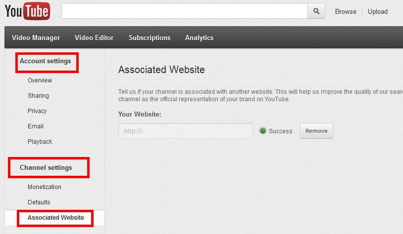 how to add associated website to youtube