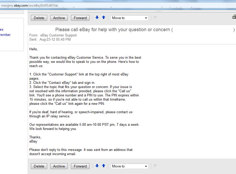 Please call eBay for help with your question or concern